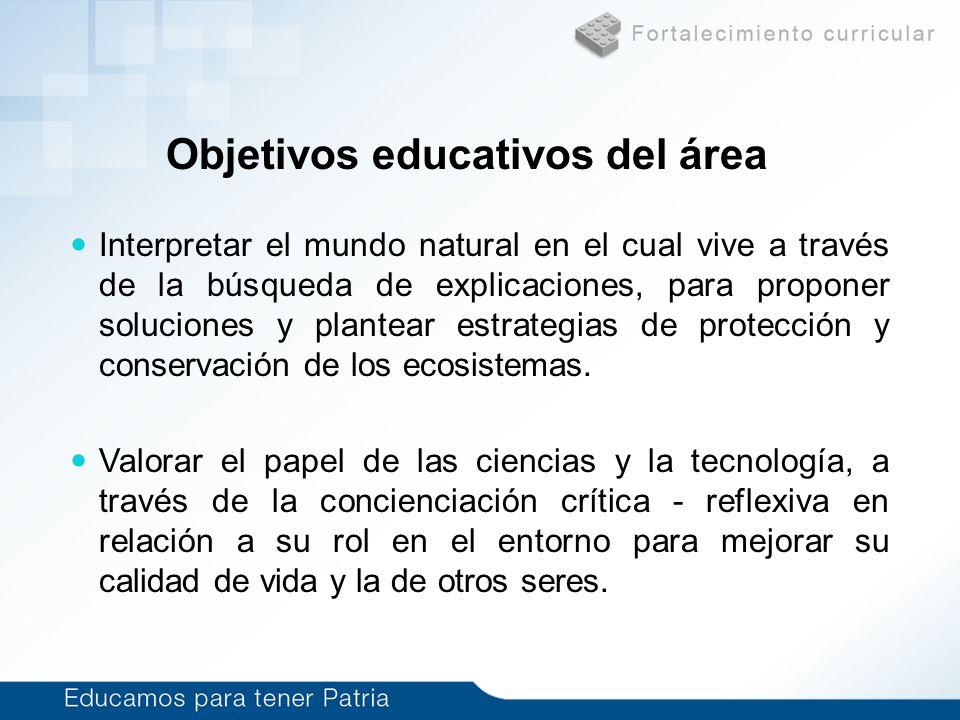Objetivos educativos del área Interpretar el mundo natural en el cual vive a través de la búsqueda de explicaciones, para proponer soluciones y plante