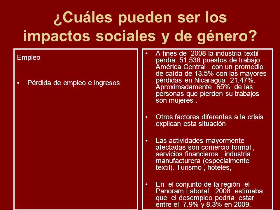¿Cuáles pueden ser los impactos sociales y de género? Empleo Pérdida de empleo e ingresos A fines de 2008 la industria textil perdía 51,538 puestos de