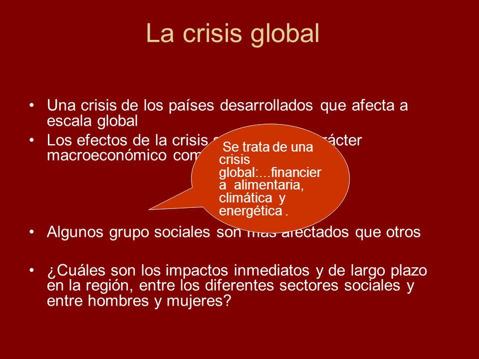 Una crisis de los países desarrollados que afecta a escala global Los efectos de la crisis son tanto de carácter macroeconómico como microeconómico Al