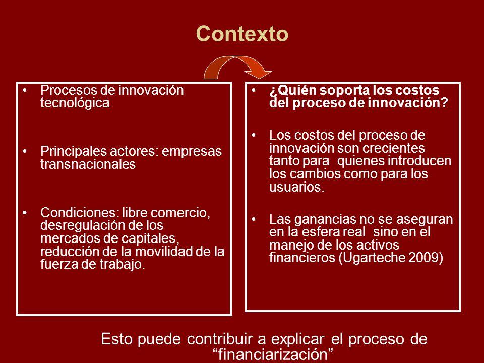 Contexto Procesos de innovación tecnológica Principales actores: empresas transnacionales Condiciones: libre comercio, desregulación de los mercados d