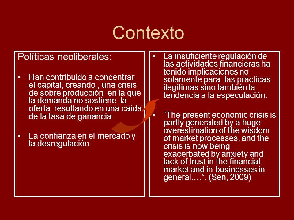 Contexto Políticas neoliberales : Han contribuido a concentrar el capital, creando, una crisis de sobre producción en la que la demanda no sostiene la