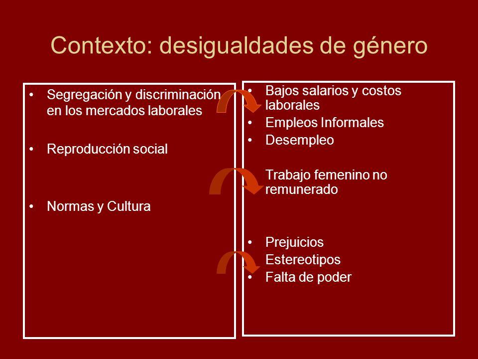 Contexto: desigualdades de género Segregación y discriminación en los mercados laborales Reproducción social Normas y Cultura Bajos salarios y costos