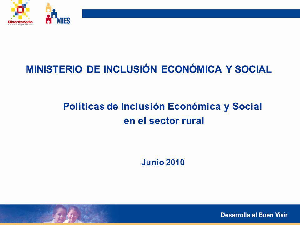 MINISTERIO DE INCLUSIÓN ECONÓMICA Y SOCIAL Políticas de Inclusión Económica y Social en el sector rural Junio 2010