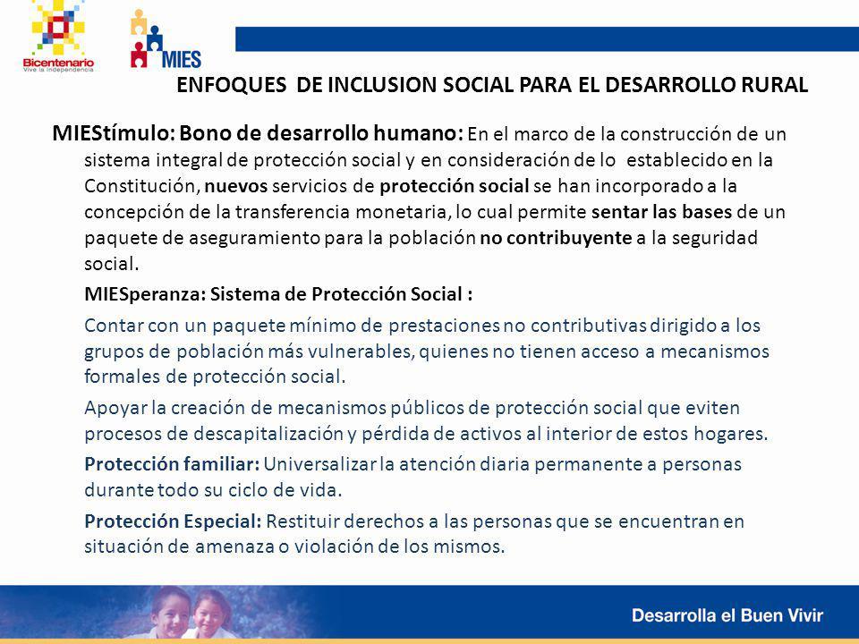 ENFOQUES DE INCLUSION SOCIAL PARA EL DESARROLLO RURAL MIEStímulo: Bono de desarrollo humano: En el marco de la construcción de un sistema integral de