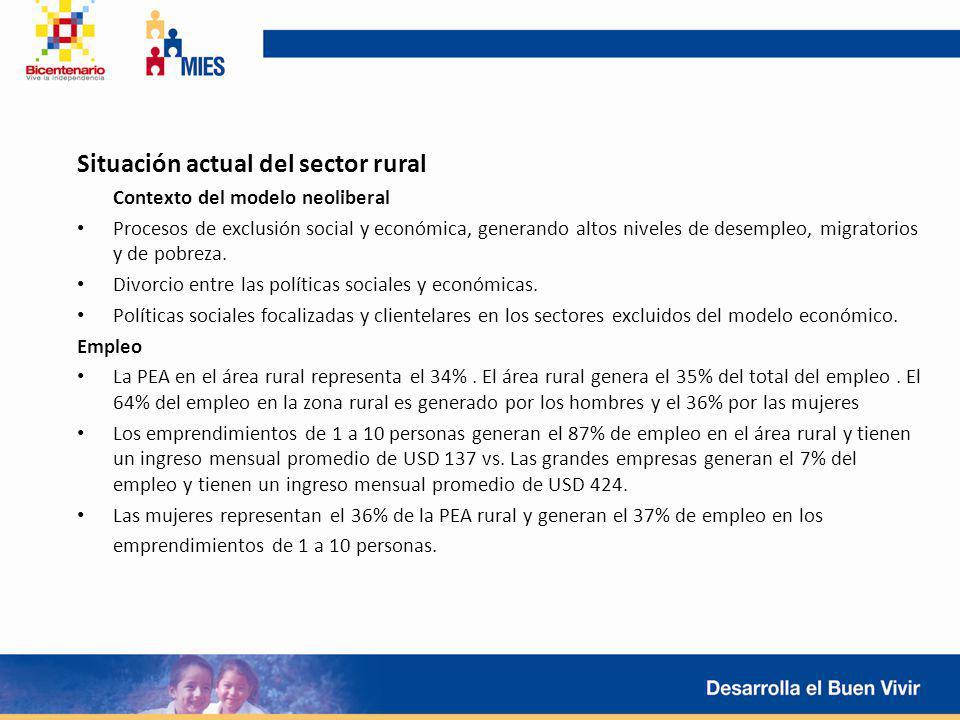 Situación actual del sector rural Contexto del modelo neoliberal Procesos de exclusión social y económica, generando altos niveles de desempleo, migra