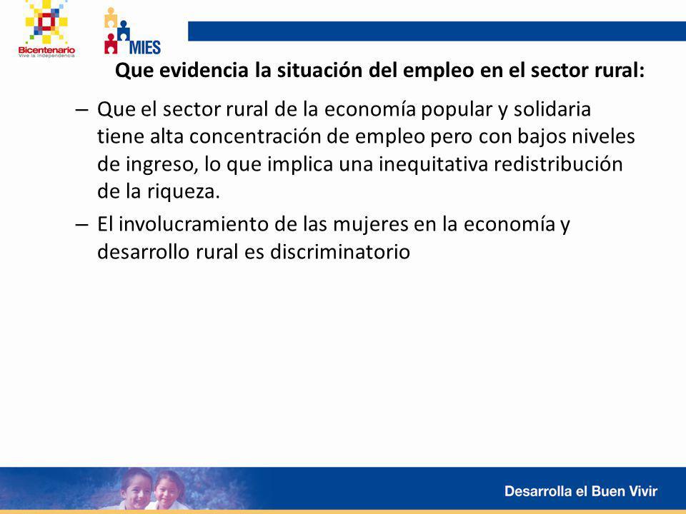 Que evidencia la situación del empleo en el sector rural: – Que el sector rural de la economía popular y solidaria tiene alta concentración de empleo