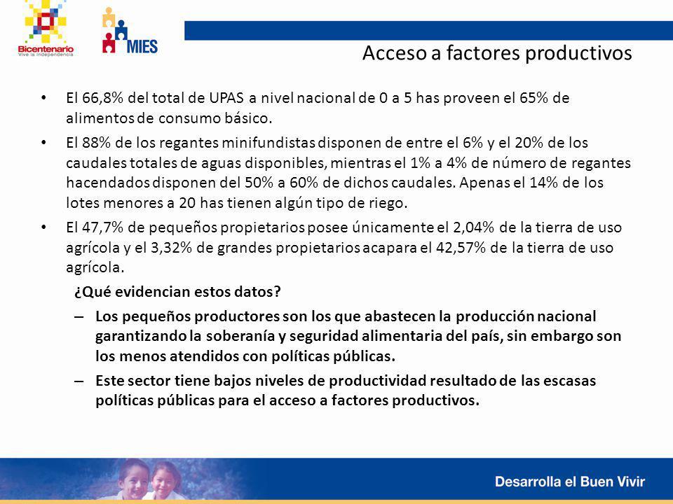 Acceso a factores productivos El 66,8% del total de UPAS a nivel nacional de 0 a 5 has proveen el 65% de alimentos de consumo básico. El 88% de los re