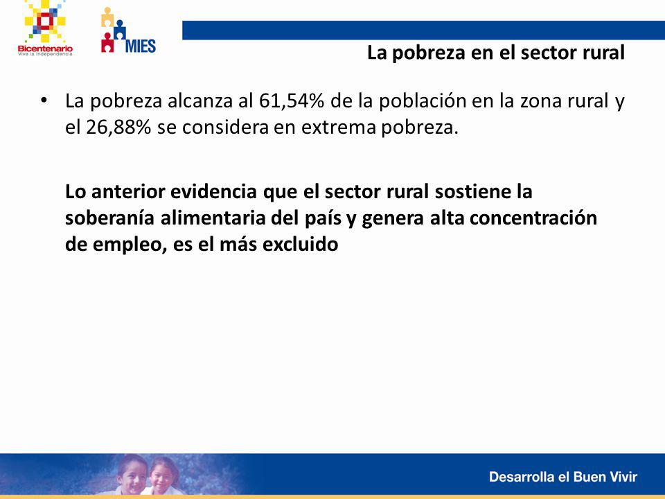 La pobreza en el sector rural La pobreza alcanza al 61,54% de la población en la zona rural y el 26,88% se considera en extrema pobreza. Lo anterior e