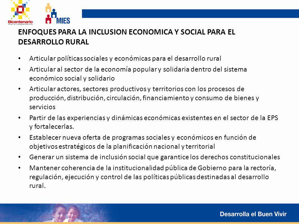 Articular políticas sociales y económicas para el desarrollo rural Articular al sector de la economía popular y solidaria dentro del sistema económico