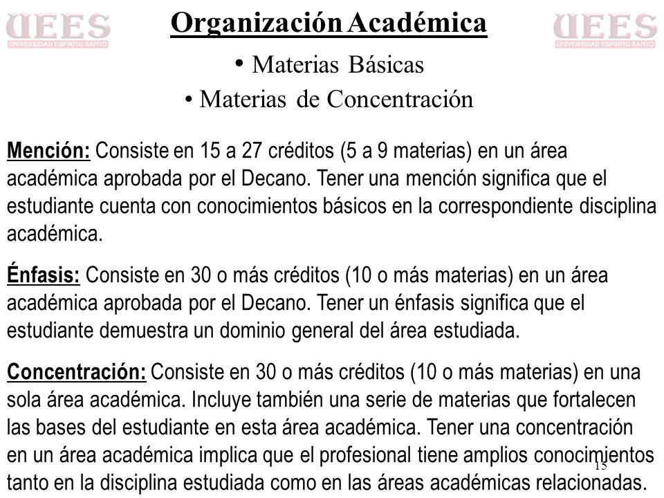 15 Organización Académica Materias Básicas Materias de Concentración Mención: Consiste en 15 a 27 créditos (5 a 9 materias) en un área académica aprobada por el Decano.