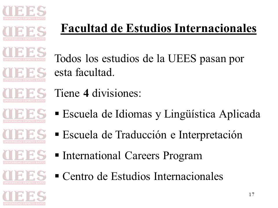 17 Facultad de Estudios Internacionales Todos los estudios de la UEES pasan por esta facultad. Tiene 4 divisiones: Escuela de Idiomas y Lingüística Ap