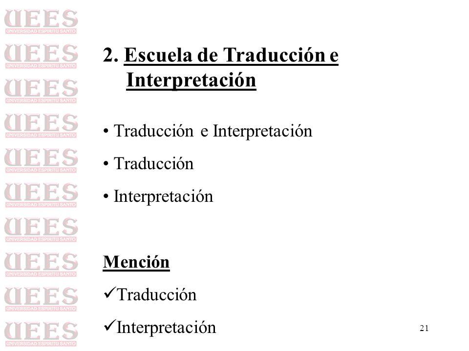 21 2. Escuela de Traducción e Interpretación Traducción e Interpretación Traducción Interpretación Mención Traducción Interpretación