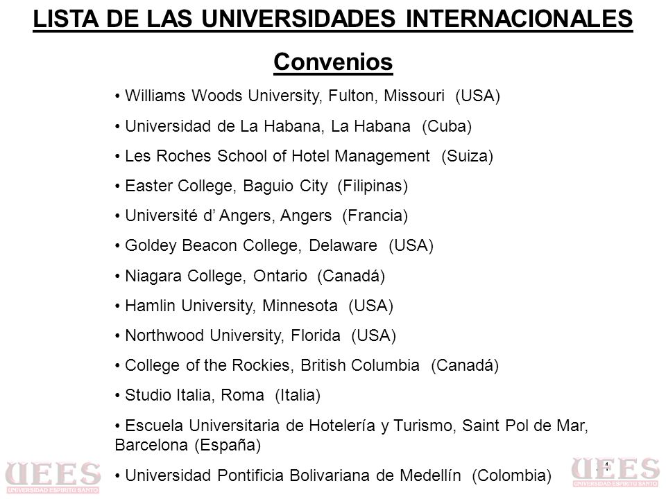 34 Williams Woods University, Fulton, Missouri (USA) Universidad de La Habana, La Habana (Cuba) Les Roches School of Hotel Management (Suiza) Easter C