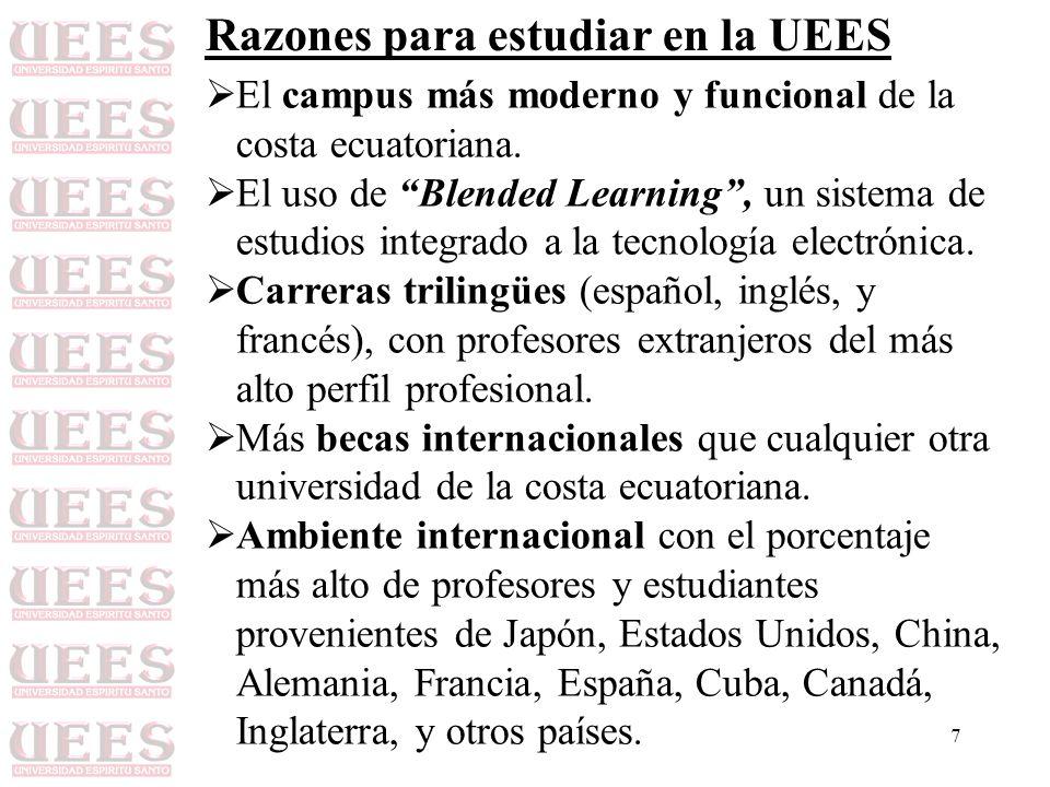7 Razones para estudiar en la UEES El campus más moderno y funcional de la costa ecuatoriana. El uso de Blended Learning, un sistema de estudios integ