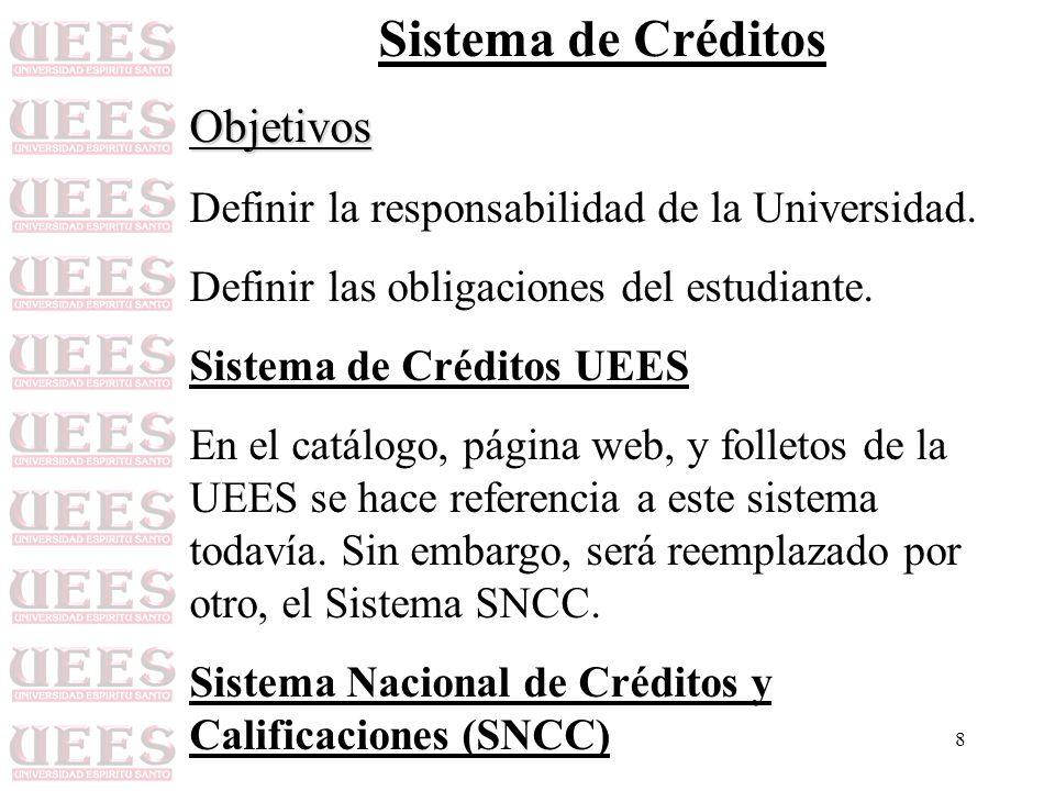 8 Sistema de CréditosObjetivos Definir la responsabilidad de la Universidad. Definir las obligaciones del estudiante. Sistema de Créditos UEES En el c