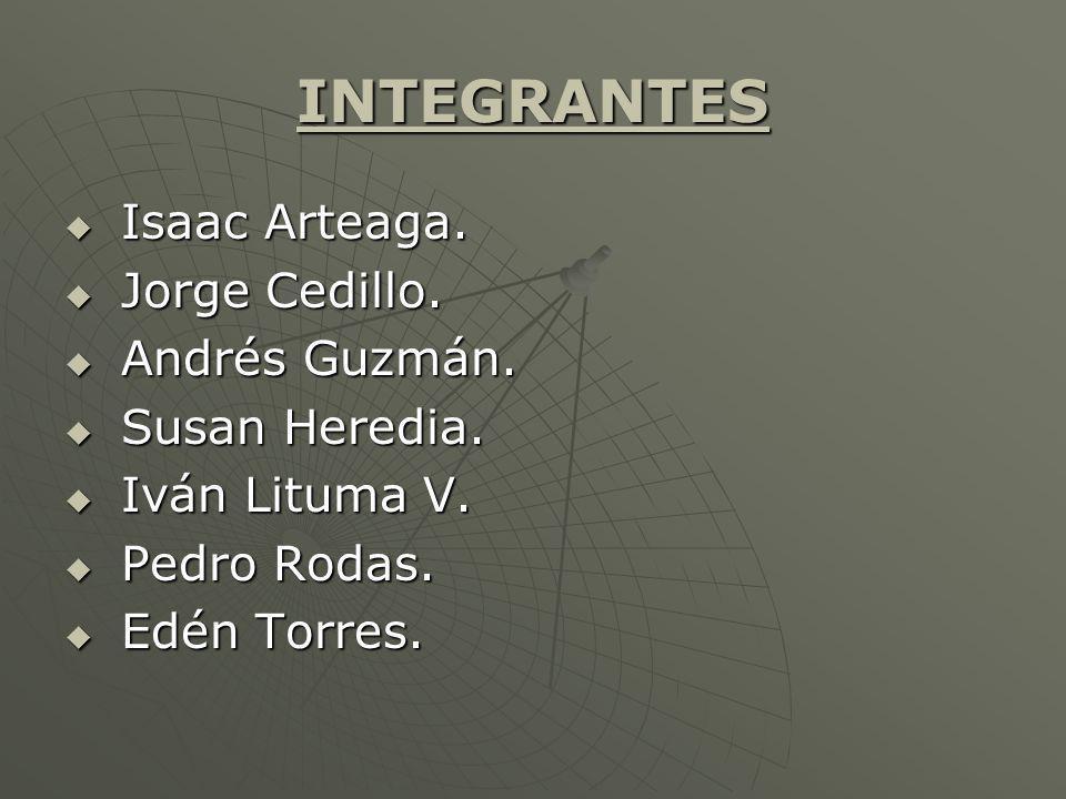 INTEGRANTES Isaac Arteaga. Isaac Arteaga. Jorge Cedillo. Jorge Cedillo. Andrés Guzmán. Andrés Guzmán. Susan Heredia. Susan Heredia. Iván Lituma V. Ivá