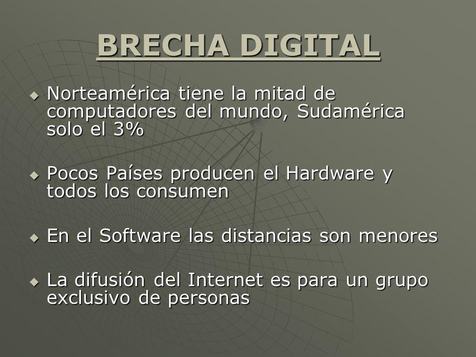BRECHA DIGITAL Norteamérica tiene la mitad de computadores del mundo, Sudamérica solo el 3% Norteamérica tiene la mitad de computadores del mundo, Sud