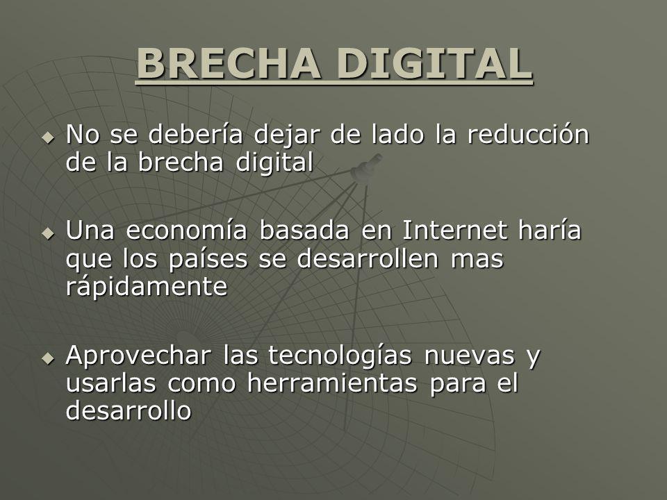 BRECHA DIGITAL No se debería dejar de lado la reducción de la brecha digital No se debería dejar de lado la reducción de la brecha digital Una economí