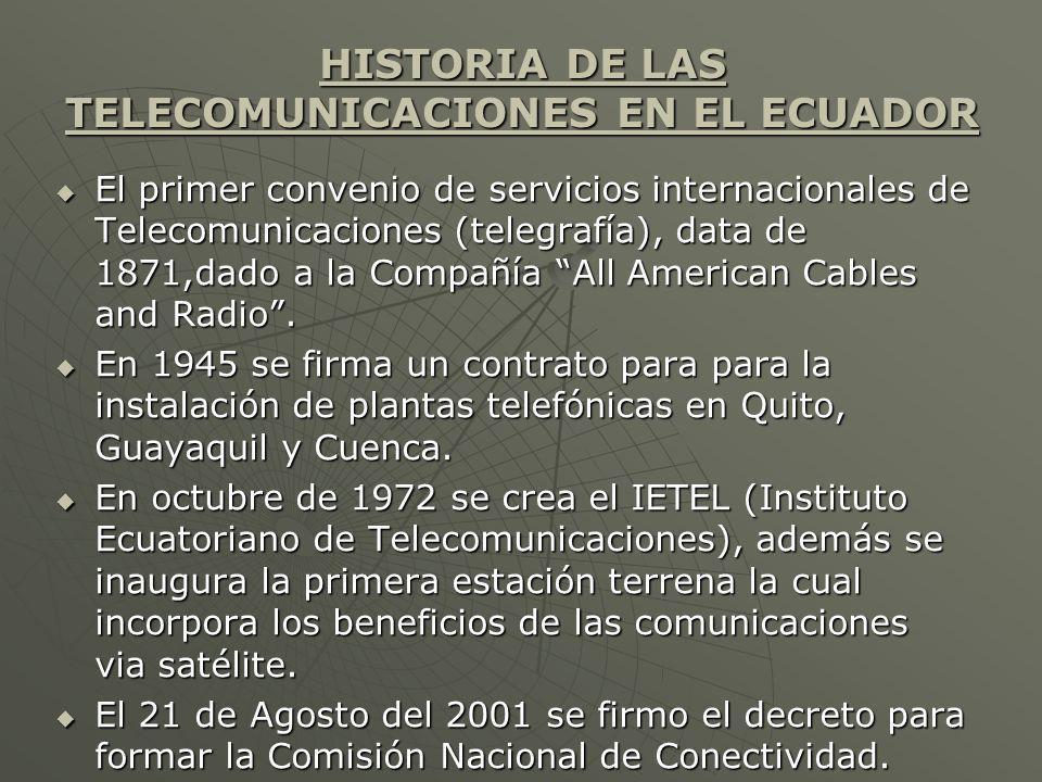 HISTORIA DE LAS TELECOMUNICACIONES EN EL ECUADOR El primer convenio de servicios internacionales de Telecomunicaciones (telegrafía), data de 1871,dado a la Compañía All American Cables and Radio.