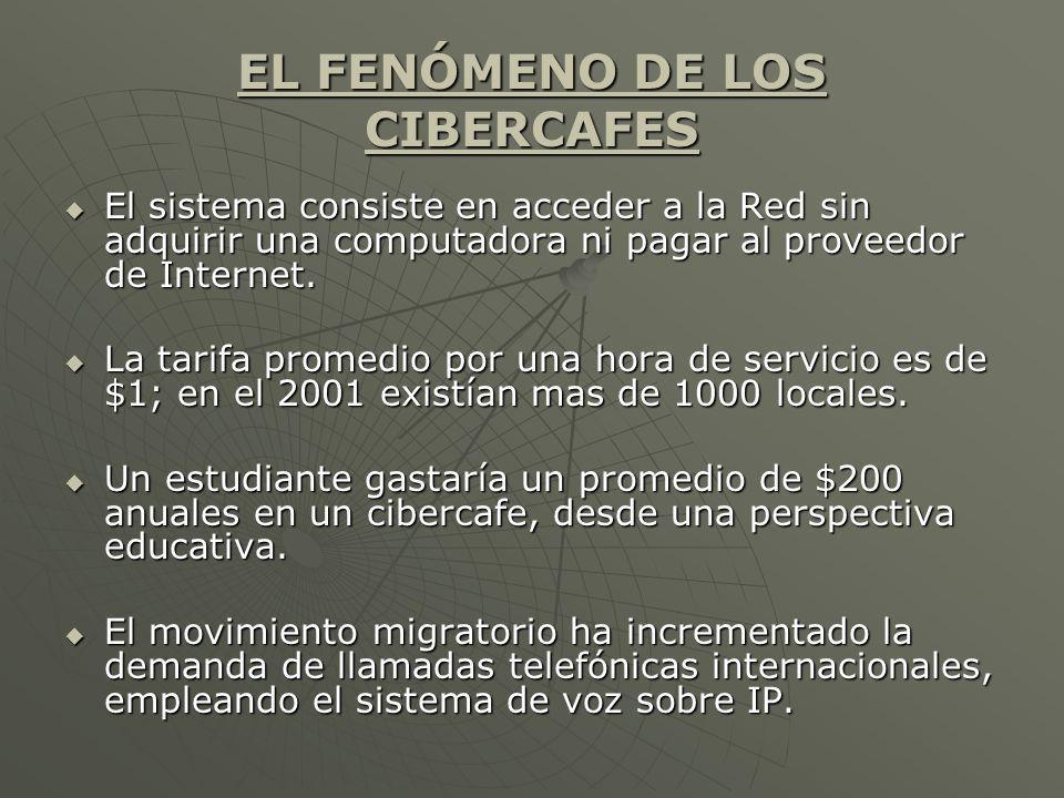 EL FENÓMENO DE LOS CIBERCAFES El sistema consiste en acceder a la Red sin adquirir una computadora ni pagar al proveedor de Internet. El sistema consi