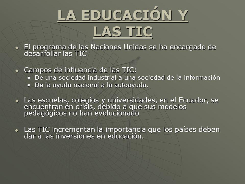 LA EDUCACIÓN Y LAS TIC El programa de las Naciones Unidas se ha encargado de desarrollar las TIC El programa de las Naciones Unidas se ha encargado de