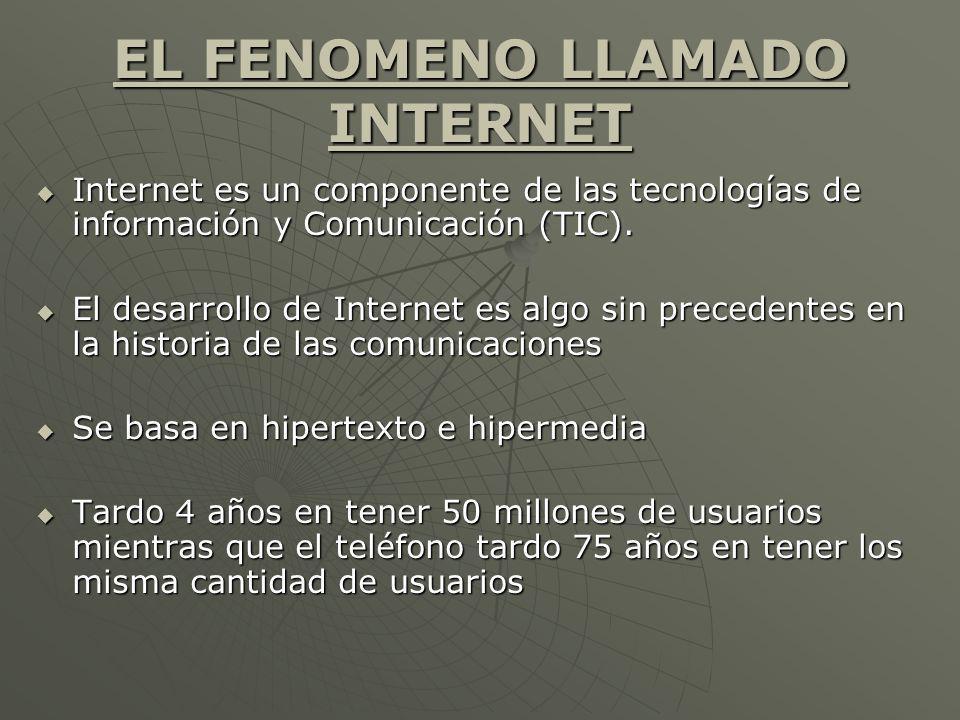 EL FENOMENO LLAMADO INTERNET Internet es un componente de las tecnologías de información y Comunicación (TIC). Internet es un componente de las tecnol