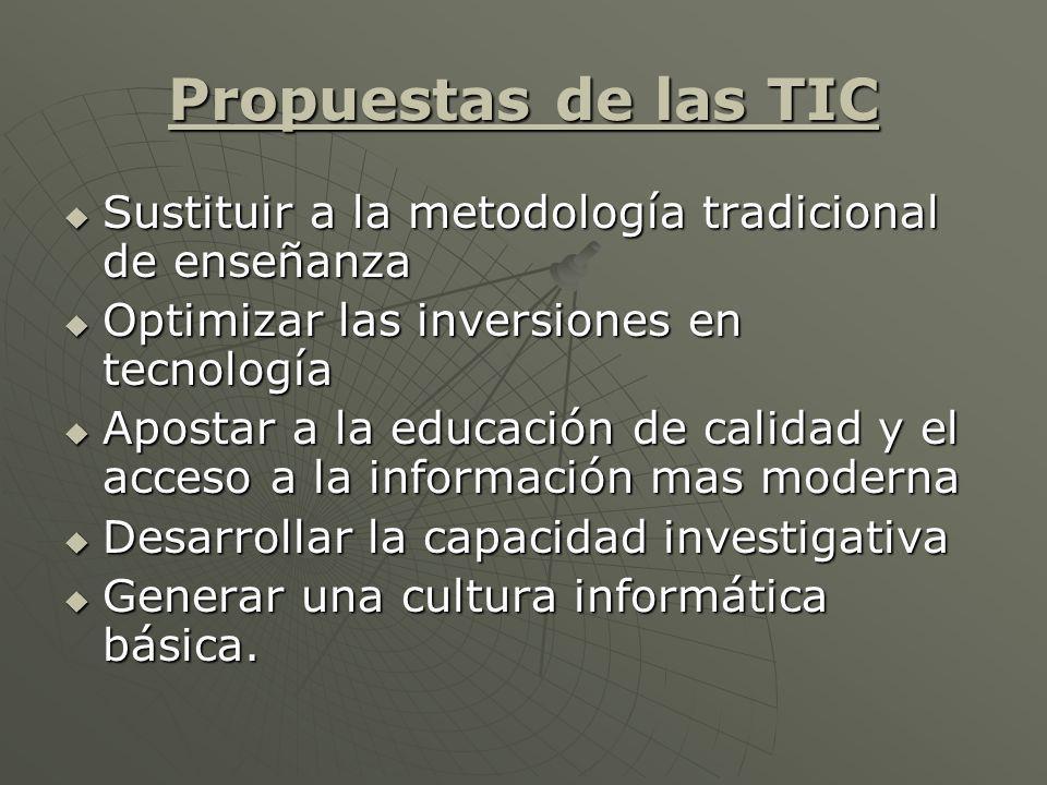 Propuestas de las TIC Sustituir a la metodología tradicional de enseñanza Sustituir a la metodología tradicional de enseñanza Optimizar las inversione