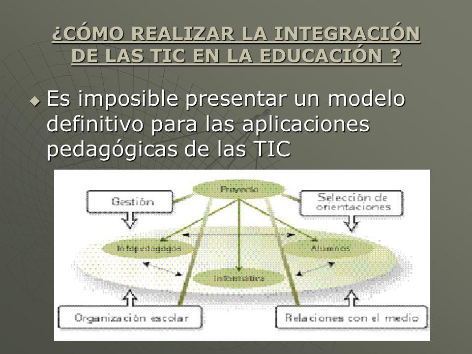 ¿CÓMO REALIZAR LA INTEGRACIÓN DE LAS TIC EN LA EDUCACIÓN ? Es imposible presentar un modelo definitivo para las aplicaciones pedagógicas de las TIC Es