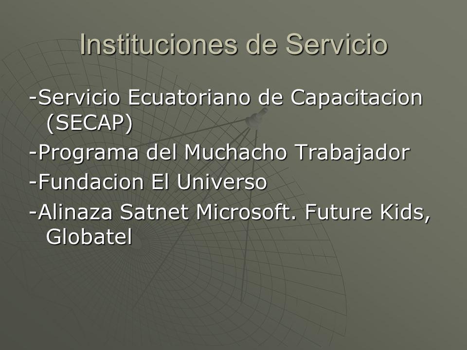 Instituciones de Servicio -Servicio Ecuatoriano de Capacitacion (SECAP) -Programa del Muchacho Trabajador -Fundacion El Universo -Alinaza Satnet Microsoft.