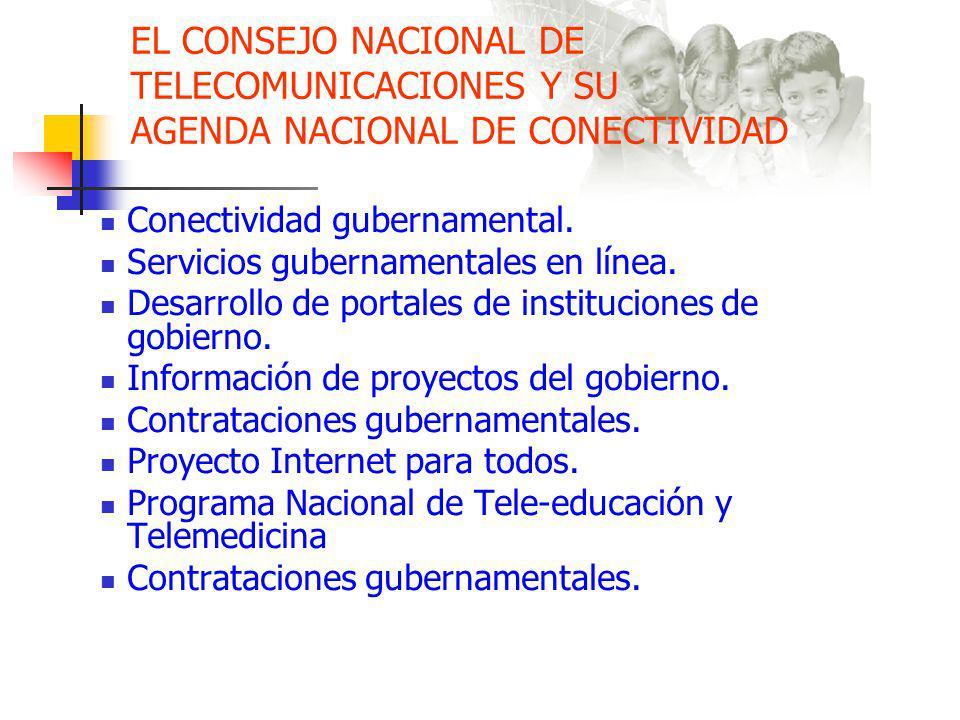 EL CONSEJO NACIONAL DE TELECOMUNICACIONES Y SU AGENDA NACIONAL DE CONECTIVIDAD Conectividad gubernamental.