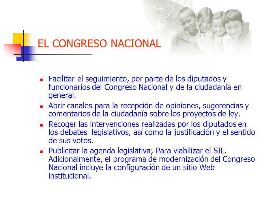 EL CONGRESO NACIONAL Facilitar el seguimiento, por parte de los diputados y funcionarios del Congreso Nacional y de la ciudadanía en general.