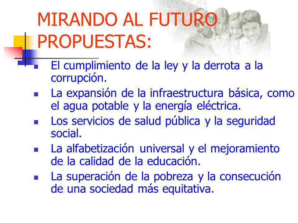 MIRANDO AL FUTURO PROPUESTAS: El cumplimiento de la ley y la derrota a la corrupción.