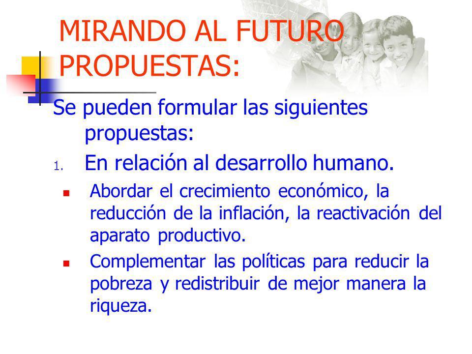 MIRANDO AL FUTURO PROPUESTAS: Se pueden formular las siguientes propuestas: 1.