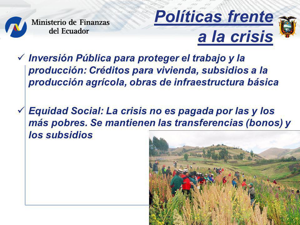 Políticas frente a la crisis Inversión Pública para proteger el trabajo y la producción: Créditos para vivienda, subsidios a la producción agrícola, o