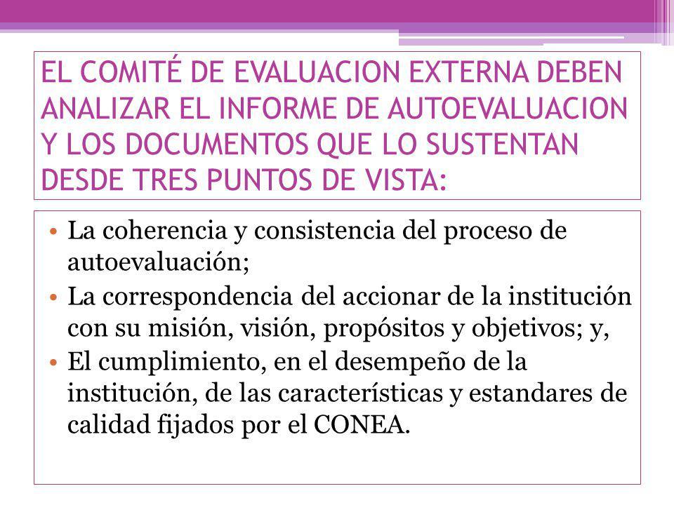 EL COMITÉ DE EVALUACION EXTERNA DEBEN ANALIZAR EL INFORME DE AUTOEVALUACION Y LOS DOCUMENTOS QUE LO SUSTENTAN DESDE TRES PUNTOS DE VISTA: La coherencia y consistencia del proceso de autoevaluación; La correspondencia del accionar de la institución con su misión, visión, propósitos y objetivos; y, El cumplimiento, en el desempeño de la institución, de las características y estandares de calidad fijados por el CONEA.