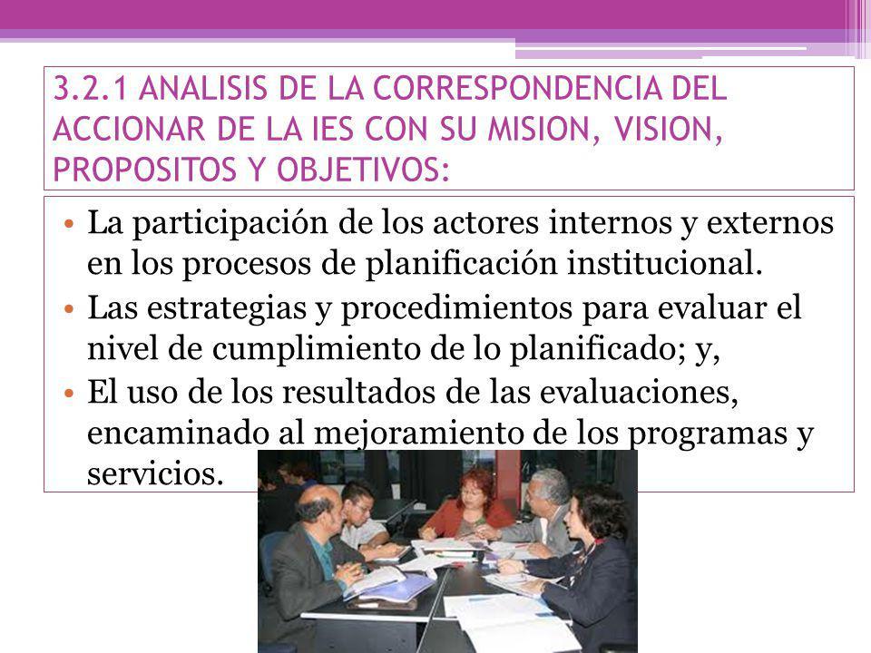 3.2.1 ANALISIS DE LA CORRESPONDENCIA DEL ACCIONAR DE LA IES CON SU MISION, VISION, PROPOSITOS Y OBJETIVOS: La participación de los actores internos y externos en los procesos de planificación institucional.