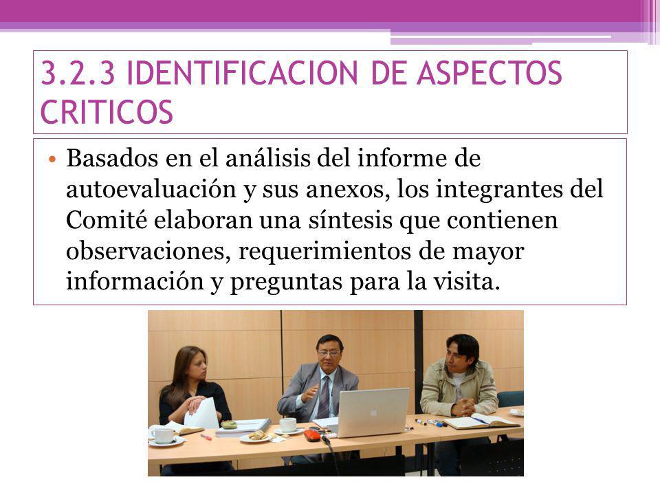 3.2.3 IDENTIFICACION DE ASPECTOS CRITICOS Basados en el análisis del informe de autoevaluación y sus anexos, los integrantes del Comité elaboran una síntesis que contienen observaciones, requerimientos de mayor información y preguntas para la visita.