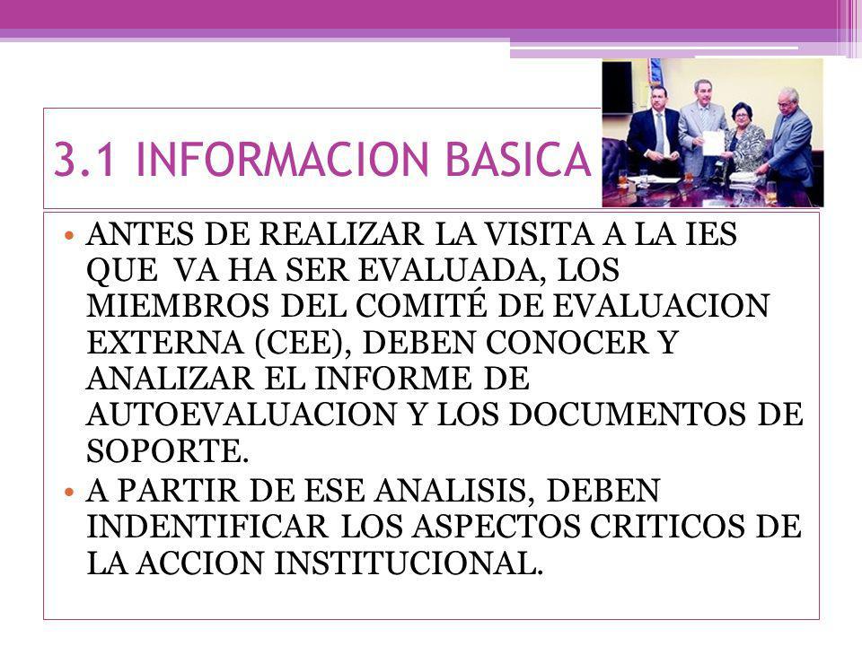 3.1 INFORMACION BASICA ANTES DE REALIZAR LA VISITA A LA IES QUE VA HA SER EVALUADA, LOS MIEMBROS DEL COMITÉ DE EVALUACION EXTERNA (CEE), DEBEN CONOCER Y ANALIZAR EL INFORME DE AUTOEVALUACION Y LOS DOCUMENTOS DE SOPORTE.