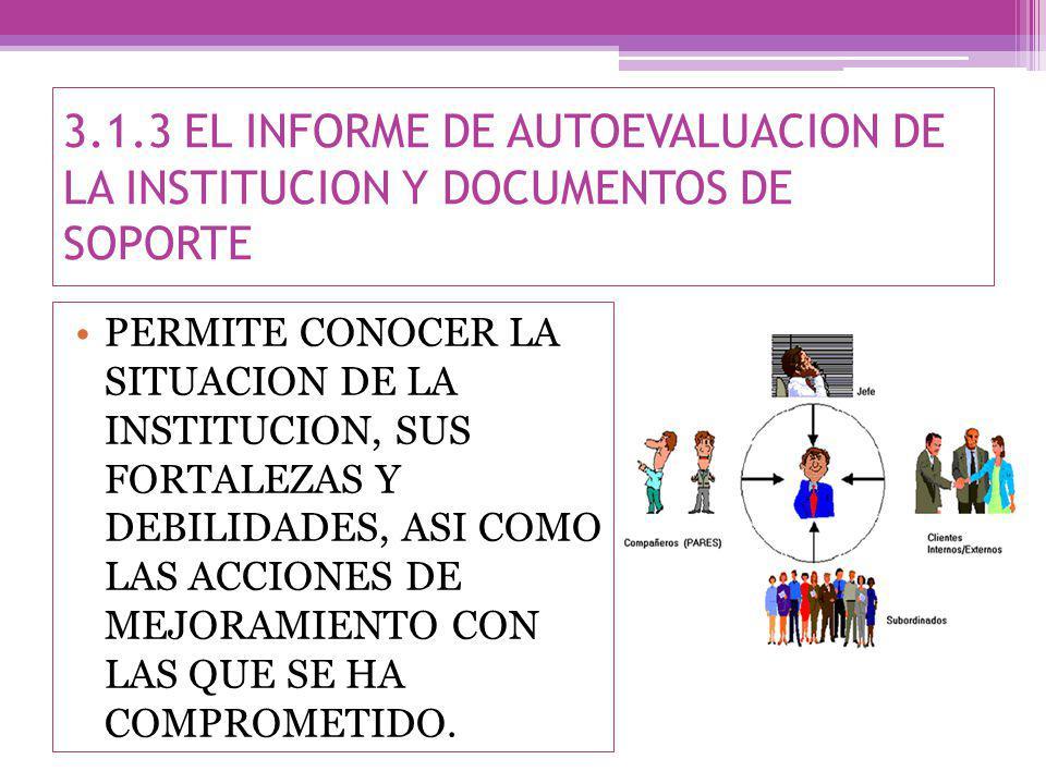 3.1.3 EL INFORME DE AUTOEVALUACION DE LA INSTITUCION Y DOCUMENTOS DE SOPORTE PERMITE CONOCER LA SITUACION DE LA INSTITUCION, SUS FORTALEZAS Y DEBILIDADES, ASI COMO LAS ACCIONES DE MEJORAMIENTO CON LAS QUE SE HA COMPROMETIDO.