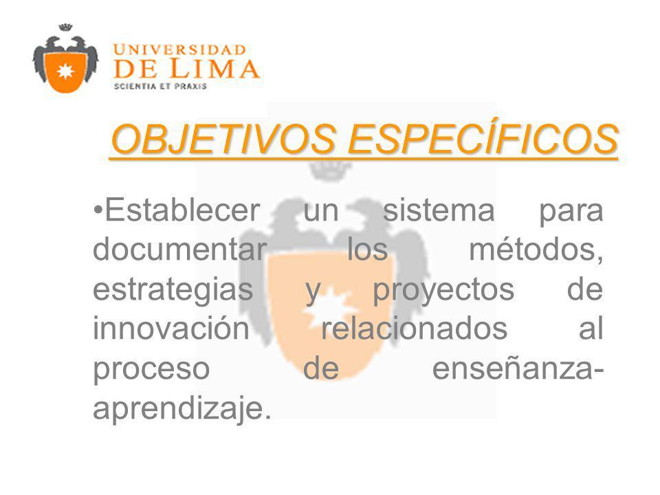Establecer un sistema para documentar los métodos, estrategias y proyectos de innovación relacionados al proceso de enseñanza- aprendizaje.