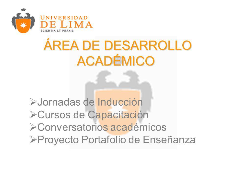 ÁREA DE DESARROLLO ACADÉMICO ÁREA DE DESARROLLO ACADÉMICO Jornadas de Inducción Cursos de Capacitación Conversatorios académicos Proyecto Portafolio de Enseñanza