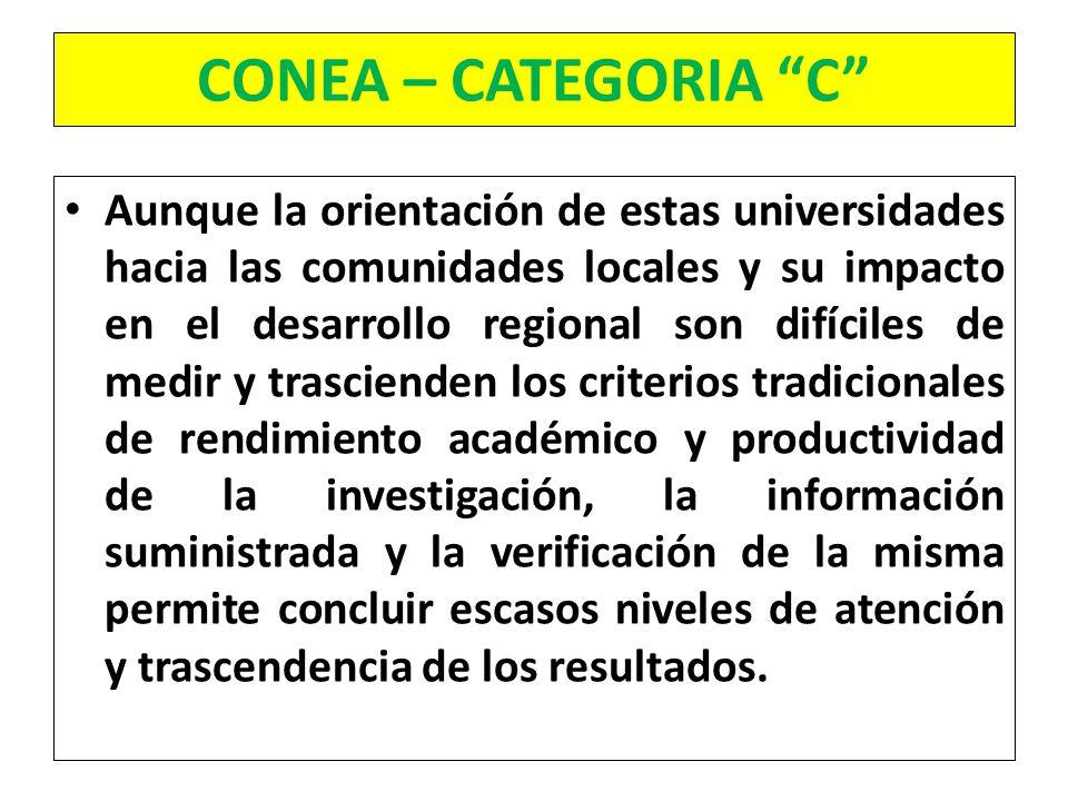 CONEA – CATEGORIA C Aunque la orientación de estas universidades hacia las comunidades locales y su impacto en el desarrollo regional son difíciles de