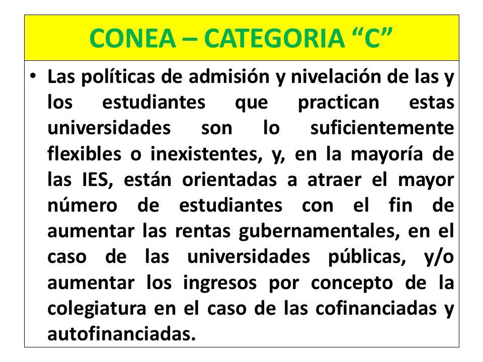 CONEA – CATEGORIA C Las políticas de admisión y nivelación de las y los estudiantes que practican estas universidades son lo suficientemente flexibles