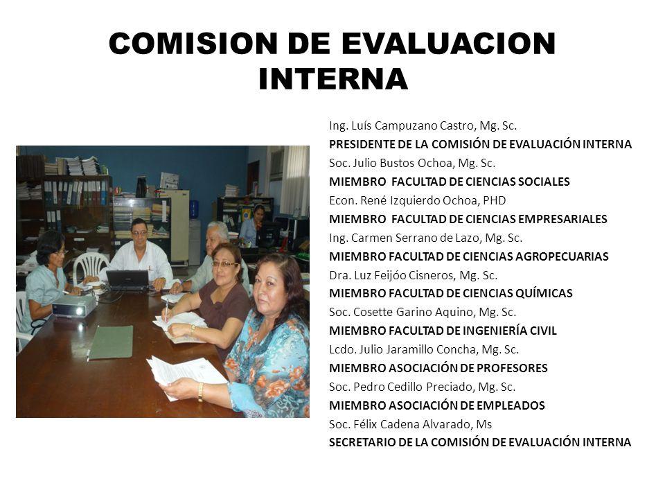 COMISION DE EVALUACION INTERNA Ing. Luís Campuzano Castro, Mg. Sc. PRESIDENTE DE LA COMISIÓN DE EVALUACIÓN INTERNA Soc. Julio Bustos Ochoa, Mg. Sc. MI