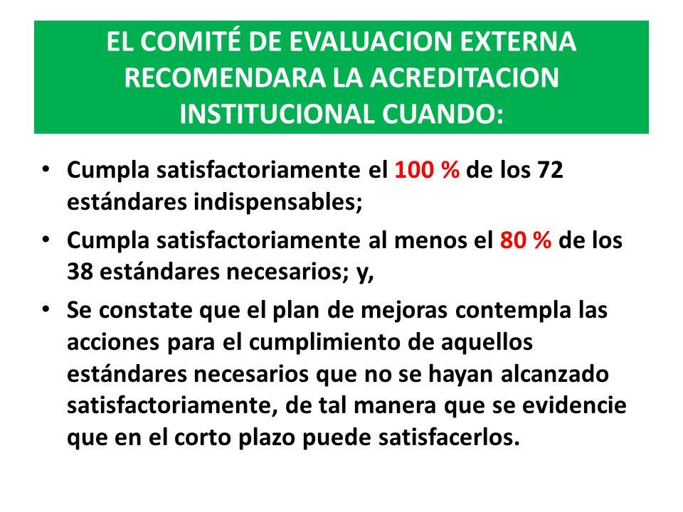 EL COMITÉ DE EVALUACION EXTERNA RECOMENDARA LA ACREDITACION INSTITUCIONAL CUANDO: Cumpla satisfactoriamente el 100 % de los 72 estándares indispensabl
