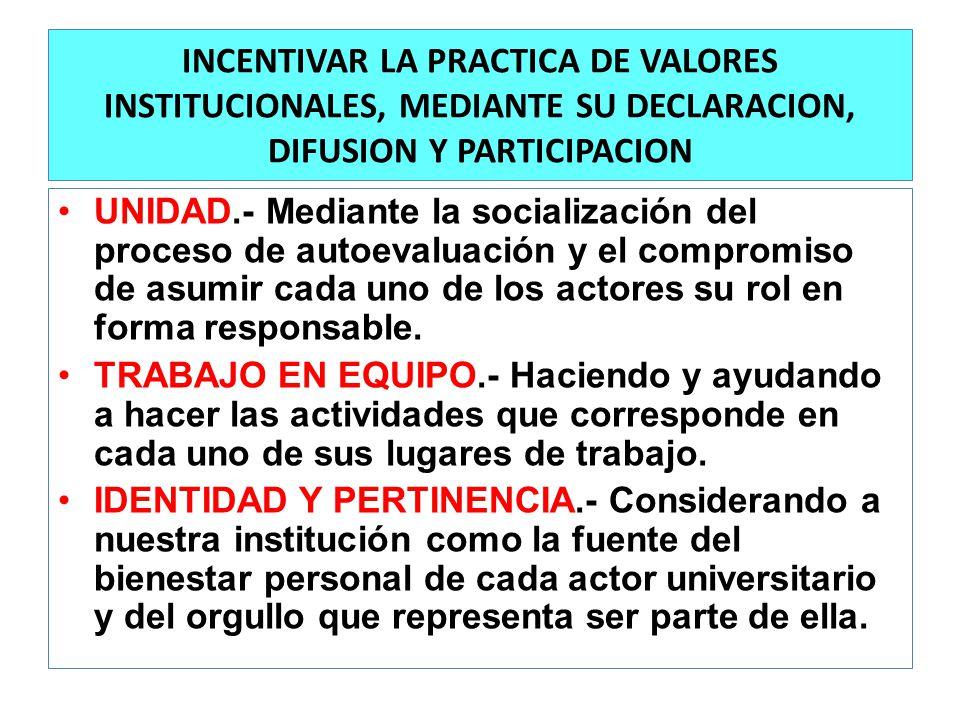 INCENTIVAR LA PRACTICA DE VALORES INSTITUCIONALES, MEDIANTE SU DECLARACION, DIFUSION Y PARTICIPACION UNIDAD.- Mediante la socialización del proceso de