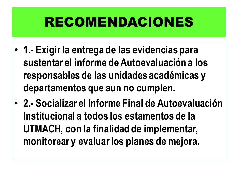 RECOMENDACIONES 1.- Exigir la entrega de las evidencias para sustentar el informe de Autoevaluación a los responsables de las unidades académicas y de