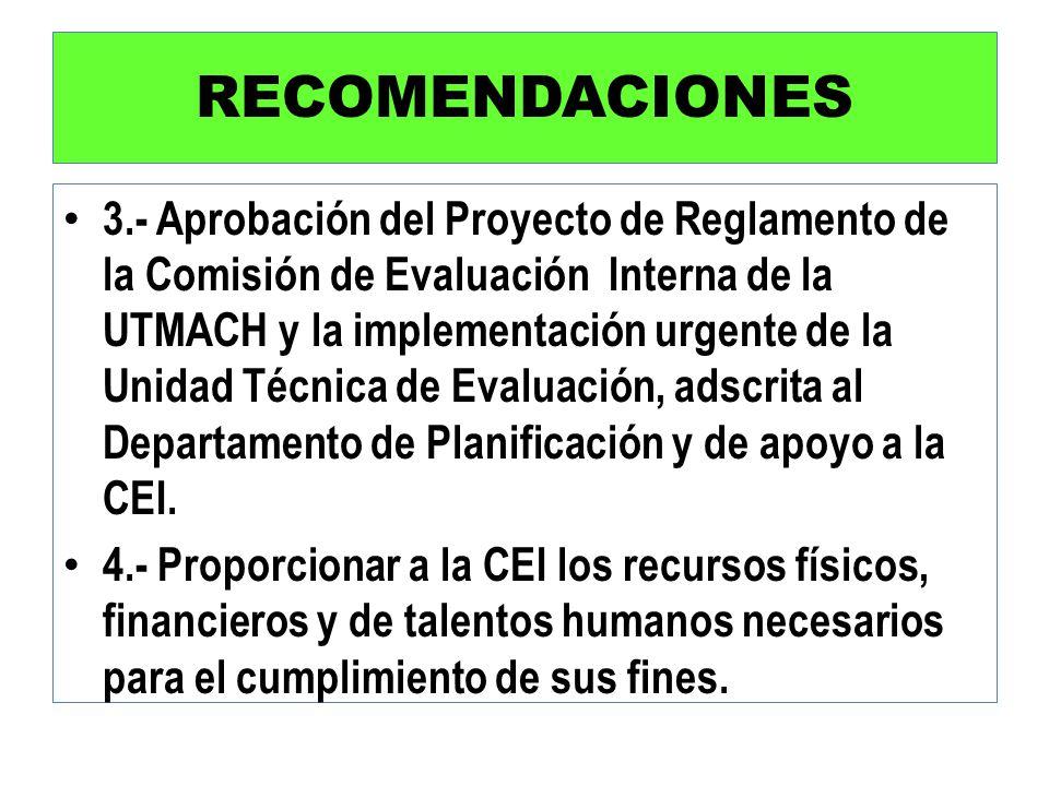 RECOMENDACIONES 3.- Aprobación del Proyecto de Reglamento de la Comisión de Evaluación Interna de la UTMACH y la implementación urgente de la Unidad T