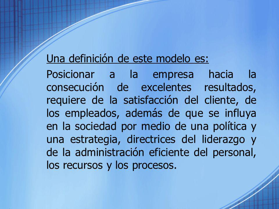 Una definición de este modelo es: Posicionar a la empresa hacia la consecución de excelentes resultados, requiere de la satisfacción del cliente, de l