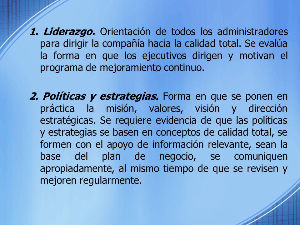 1. Liderazgo. Orientación de todos los administradores para dirigir la compañía hacia la calidad total. Se evalúa la forma en que los ejecutivos dirig